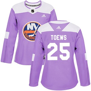 Women's Authentic New York Islanders Devon Toews Purple Fights Cancer Practice Official Adidas Jersey